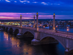 Memorial Bridge at Blue Hour - Springfield, Massachusetts